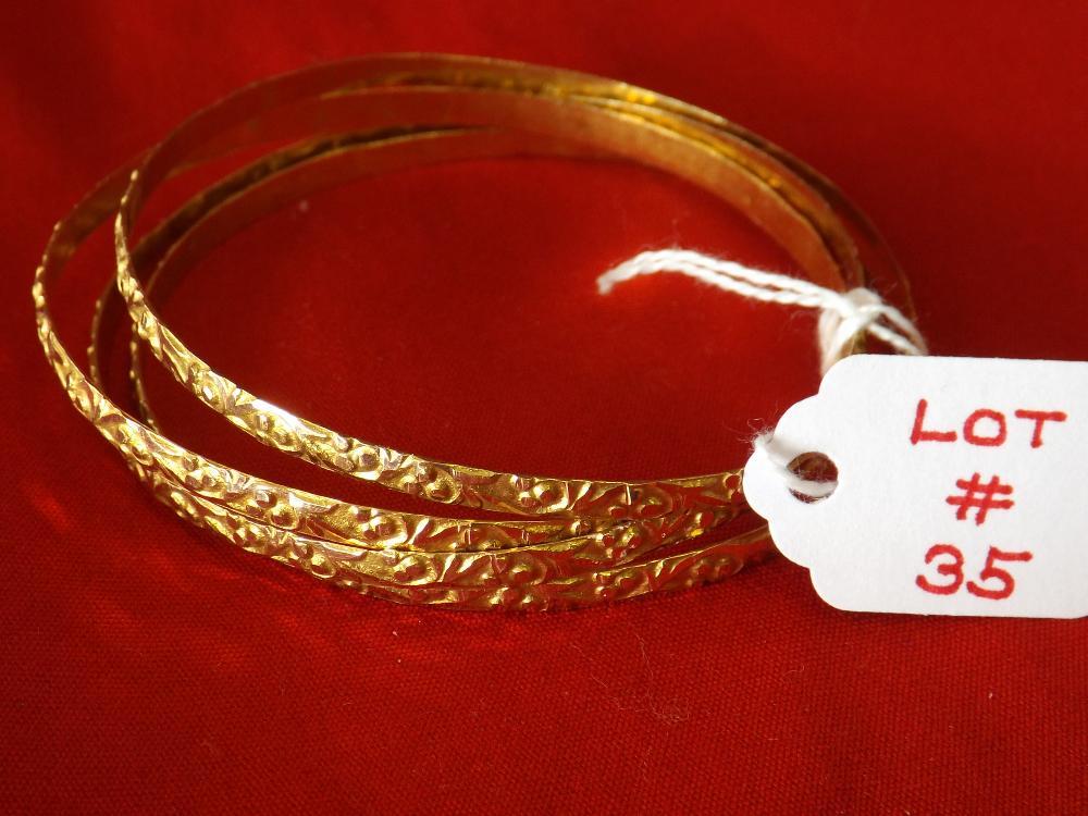 Four Ladies 22k Yellow Gold Bangle Bracelets (18.8 Dwt)