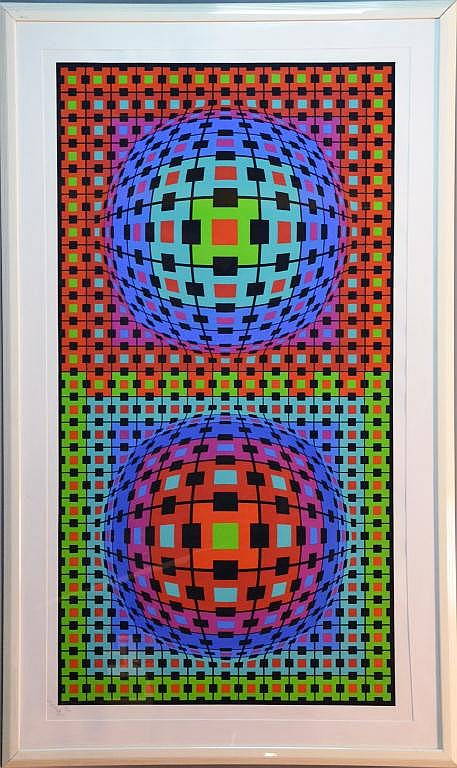 Victor Vasarely Framed Geometrical Serigraph