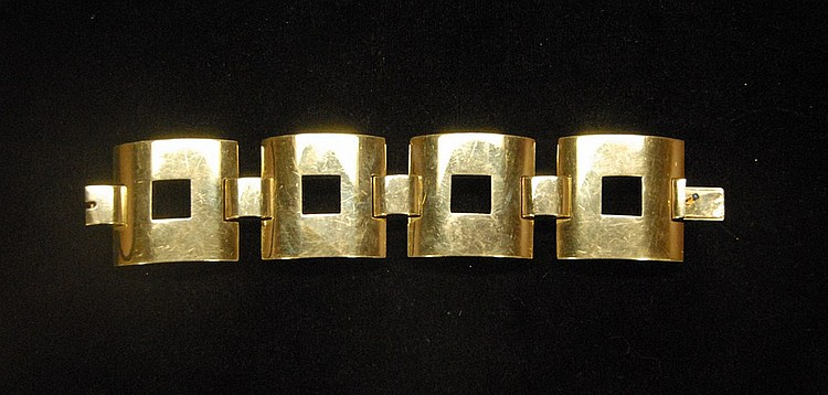 14K gold Tiffany & Co. vintage bracelet, Art Deco style with large squares, marked on clasp Tiffany & Co. 171.9 grams