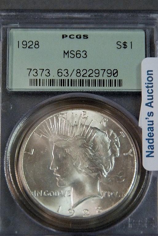 One silver dollar; 1928 PCGS 63.
