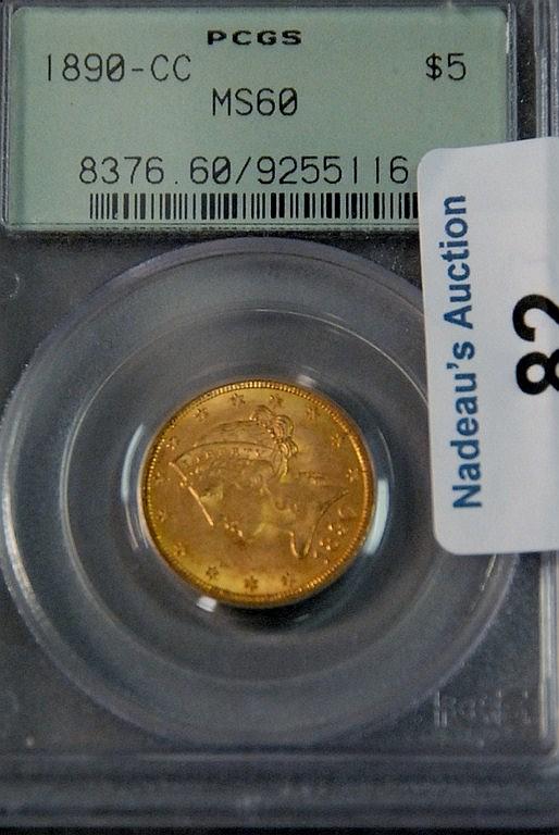 One five dollar gold half eagle 1890-CC PCGS 60.