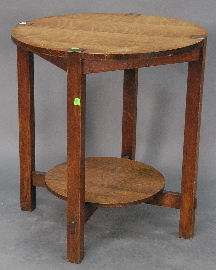 "Mission Oak round occasional table with remedial shelf signed Stickley Brothers A. Brown and Son Schenectady, dia. 24"" ht. 26"""