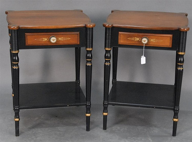 Pair of Hitchcock Sheraton style night tables.
