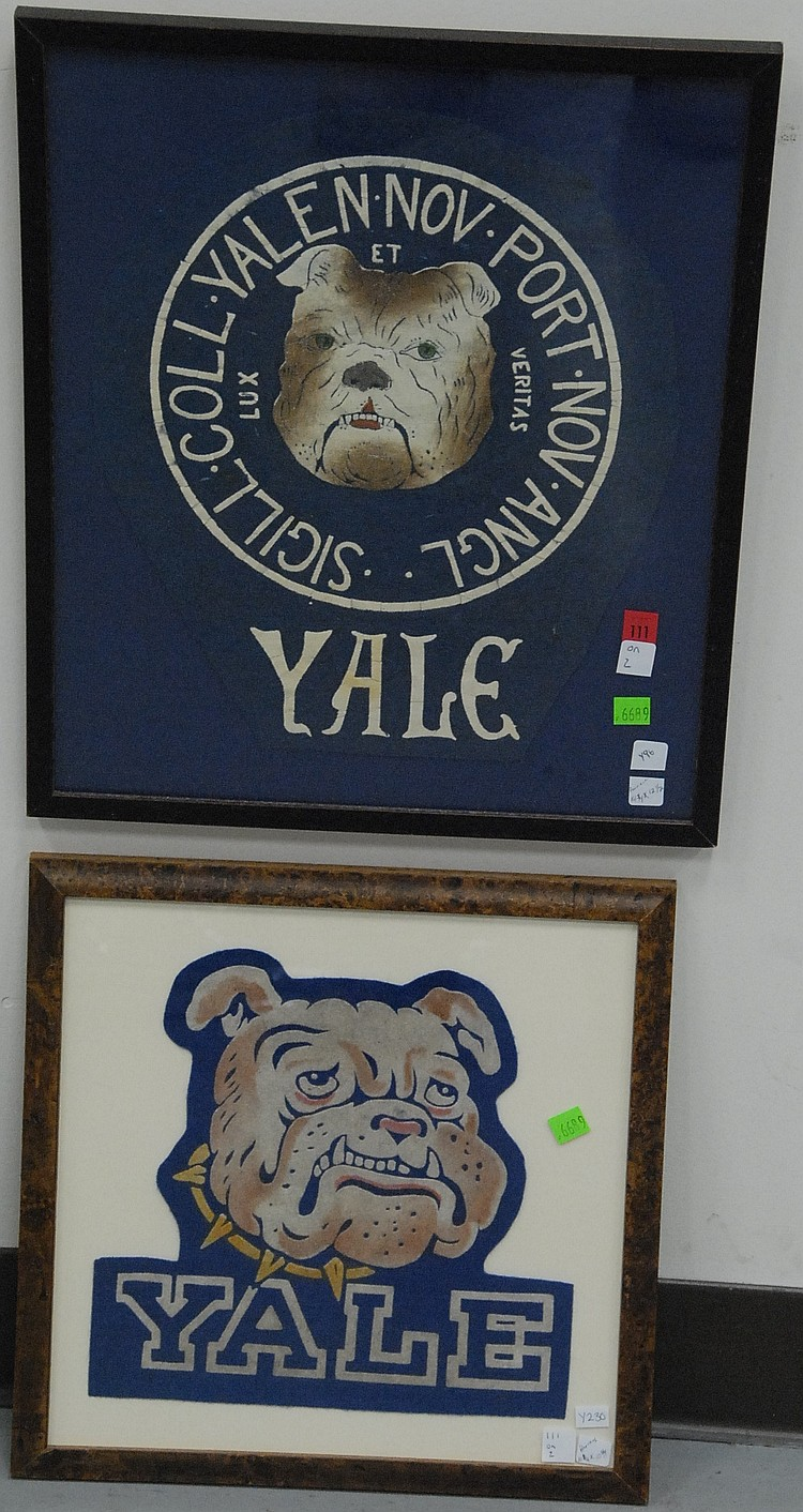 Two piece lot; Yale felt seal with fragment of bulldog felt banner 1920's framed and Yale Bulldog felt large jacket patch 1950's fra...