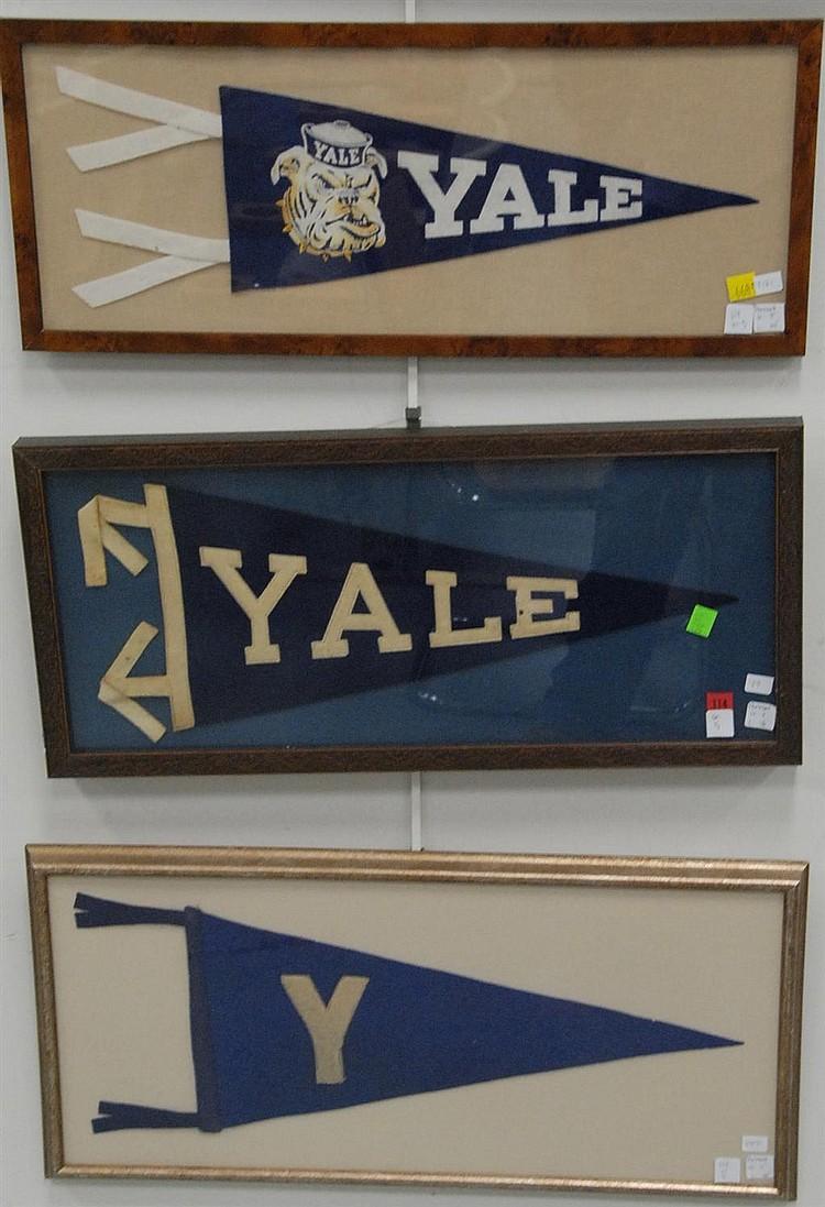 Five piece framed lot; Yale pennant circa 1940-1950, Yale circa 1905-1910, Yale pennant 1915-1920, Yale pennant with bulldog circa 1...