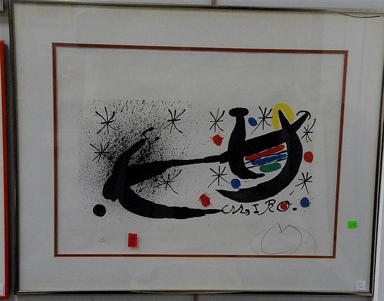 "Joan Miro(1893-1983) ""Joan Miro and Katalonien"" lithograph pencil signed lower right Miro and numbered lower left 133/200, 19"" x 25""."