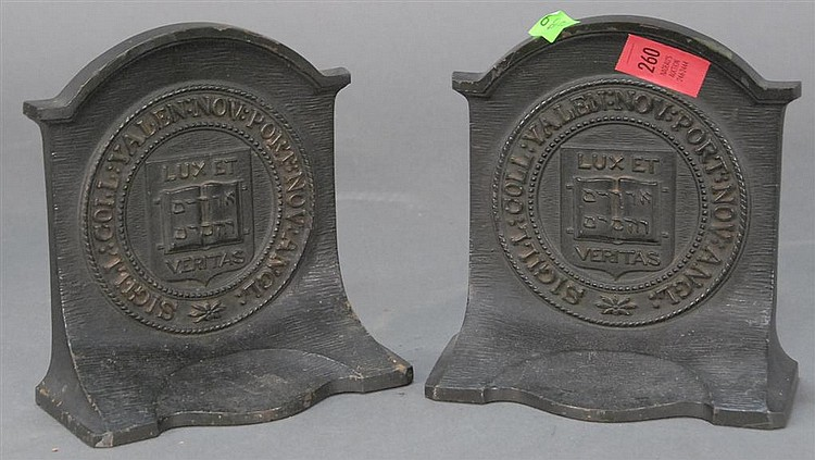 "Pair of Yale Bradley & Hubbard bookends, ht. 64""."