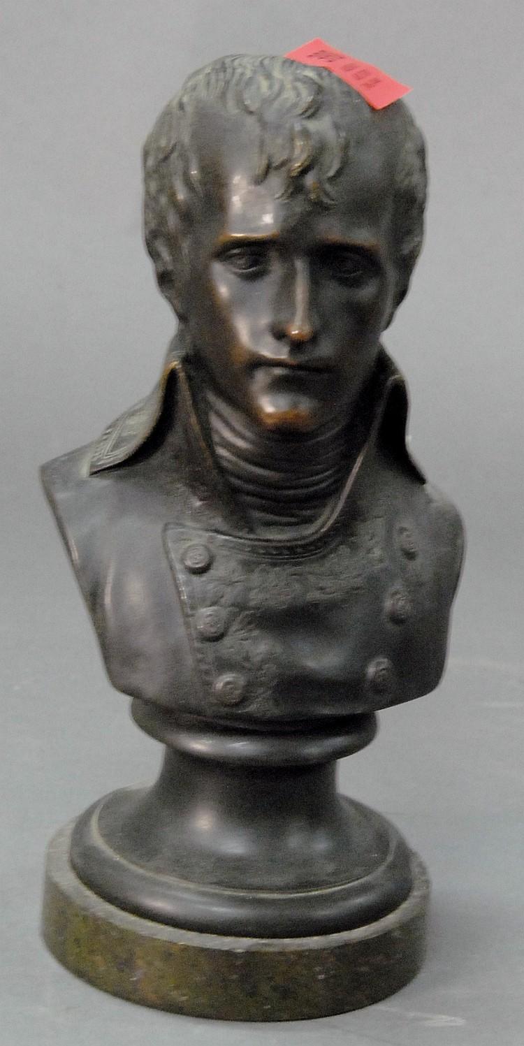 Black bronze bust of Napoleon.