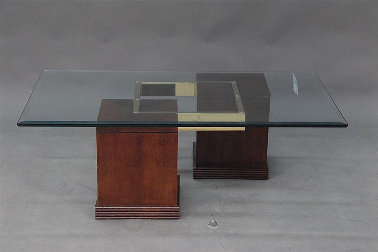 """Contemporary glass top coffee table, lg. 50""""."""