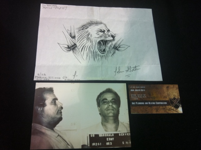John Gotti Mugshot, Business Card & Lithograph