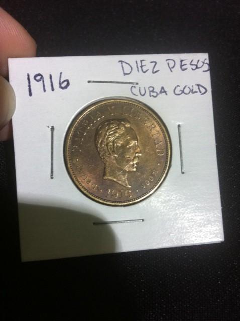 1916 Diez Pesos Cuba Gold Coin