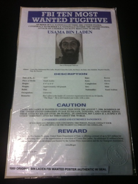 Original Osama Bin Laden FBI Wanted Poster w/ seal