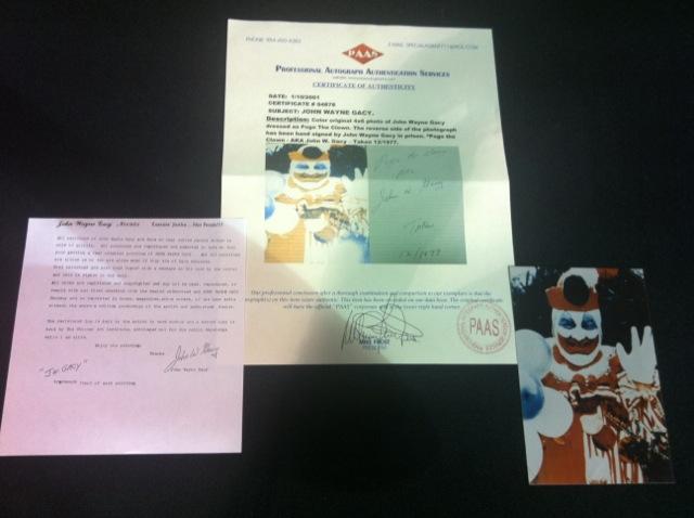 "John Wayne Gacy ""Pogo the Clown"" Signed Photo"