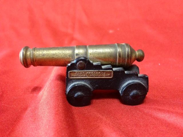 Vintage cast iron black powder cannon