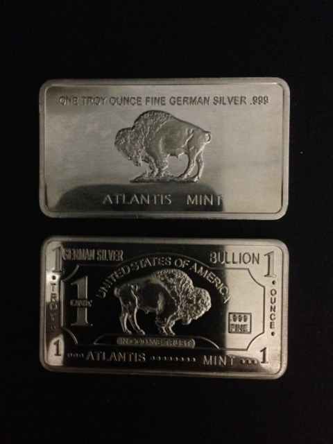 1 Troy Oz .999 German Silver Buffalo Bullion Bar