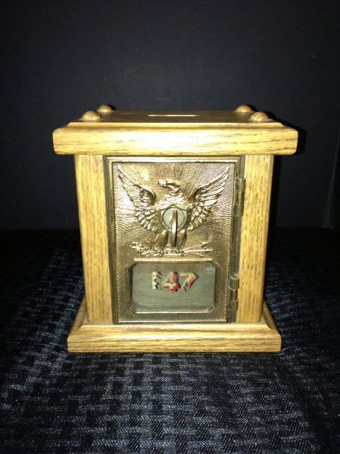 Antique1892 Wood/Brass USPS Coin Bank w/ Orig. Key