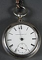 "1869 ELGIN NAT'L WATCH CO POCKET WATCH - Keywind coin silver cased pocket watch. Case is hallmarked ""Newport Coin"" and is approx. 85.."