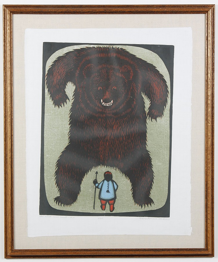 "DALE DE ARMOND (1914-2006, AK) WOODBLOCK ON PAPER - Pencil signed and numbered 8/25. Titled ""The Last Bear Hunt - #13"" of large bear..."