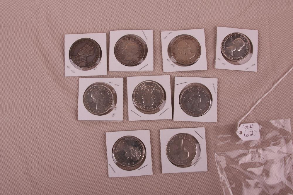 LOT OF 9 CANADA 80% SILVER DOLLARS
