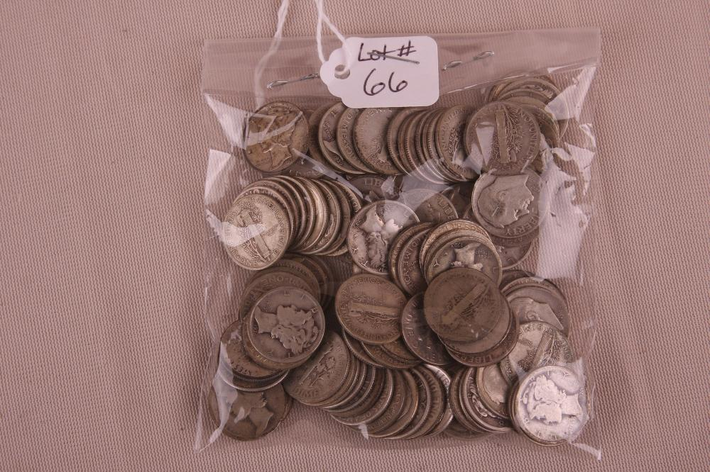 LOT OF 100 90% SILVER DIMES