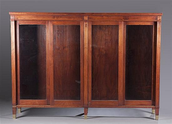 Mahogany Bookcase with Sliding Glass Doors