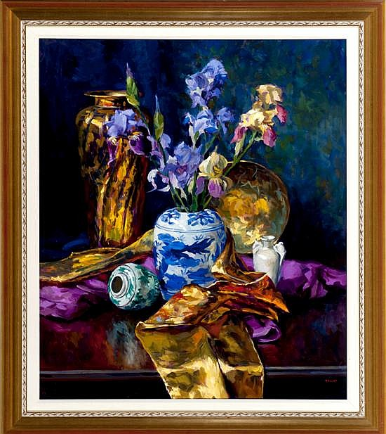 Gregory Hull, Still Life with Irises, Oil on Canvas, Od: 47 H x 41 1/2 W Id: 39 H x 31 W