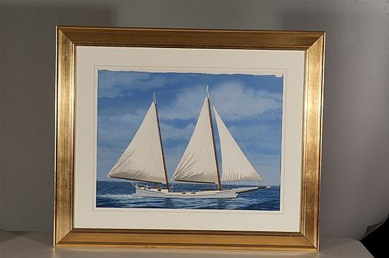 Thomas A. Newnam, Skipjack Sailboat, Watercolor on Paper, Od: 34 H x 41 W Id: 21 1/2 H x 28 W