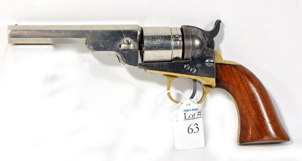 1842 Colt Pocket Revolver 36 Caliber converted from black powder to cartridge last patent date 1873 with nickel plated barrel and fine case colors