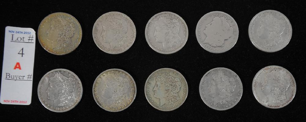 Collection of 10 Morgan Silver Dollars