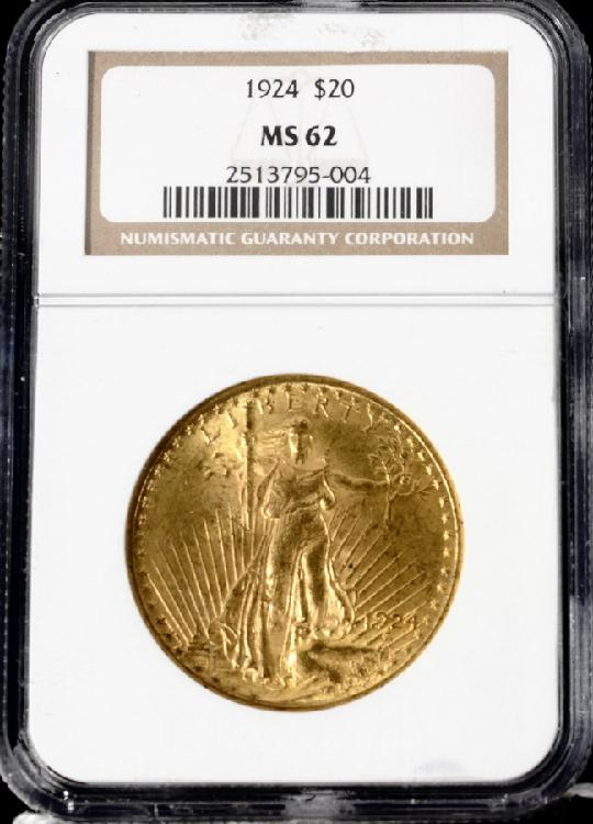 1924 Saint Gaudens $20 Double Eagle Gold Coin Graded NGC MS62