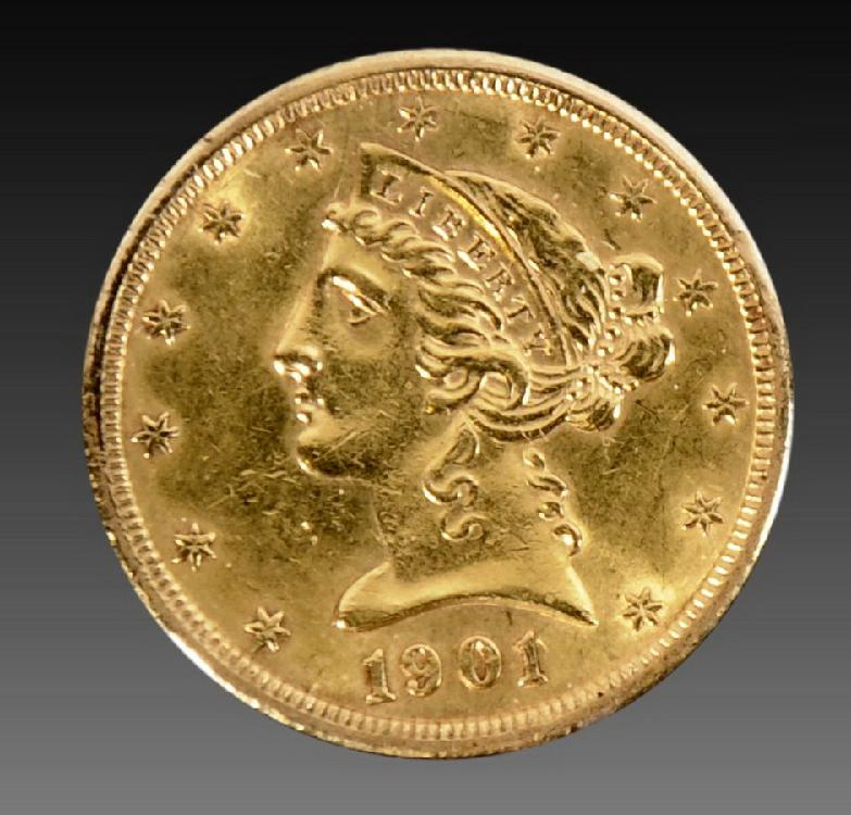 1901-S $5 US Liberty Gold Coin