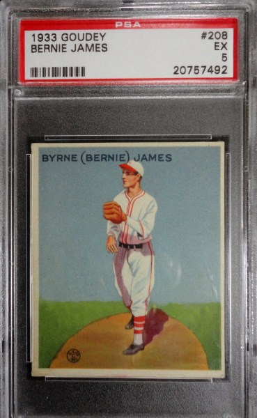 1933 Goudey  BERNIE JAMES #208