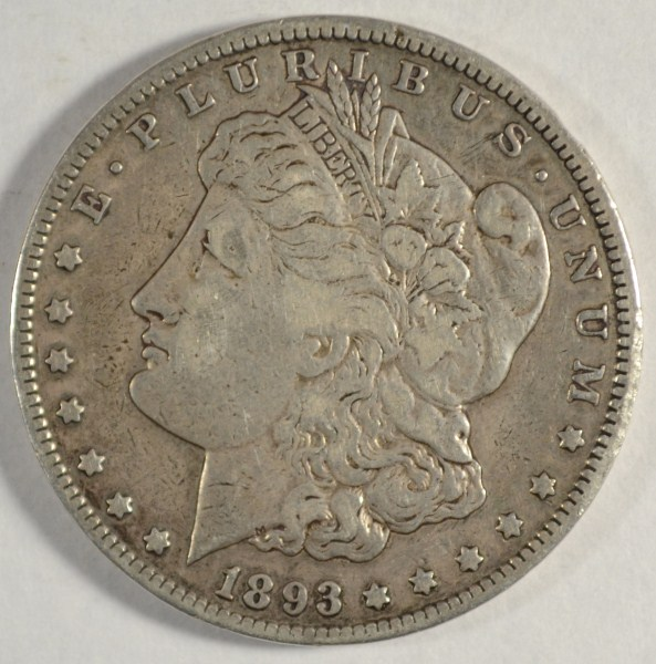 1893 CC MORGAN DOLLAR BORDERLINE XF