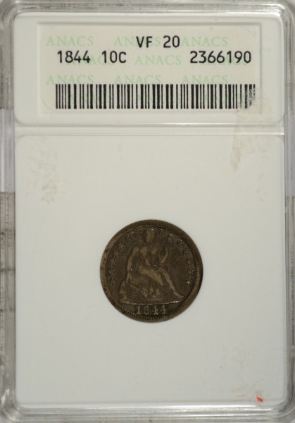 1844 SEATED LIBERTY DIME ANACS VF-20