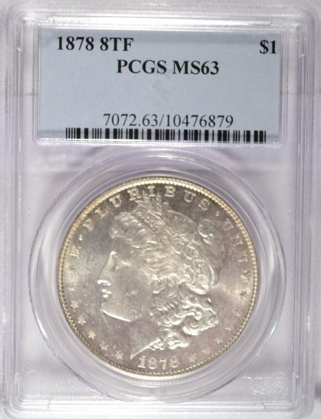 1878 8F Morgan $ PCGS63 est $225-$250