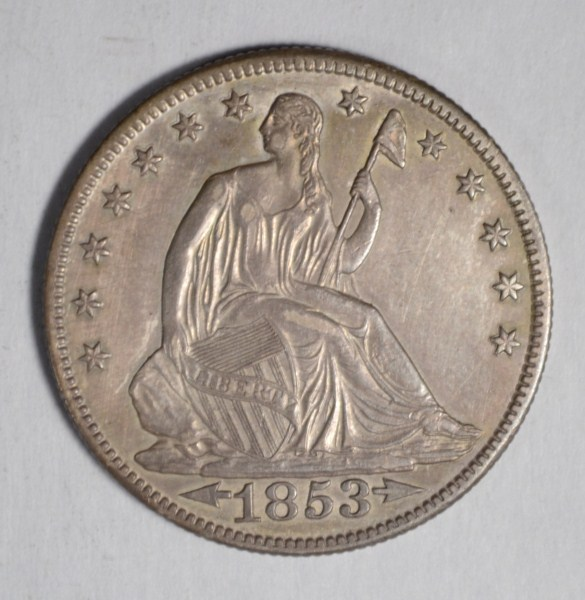 1853-O ARROWS & RAYS SEATED LIBERTY HALF AU/BU