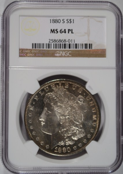 1880-S MORGAN DOLLAR NGC MS-64 PROOF LIKE. LOOKS INCREDIBLE COULD BE A 65.