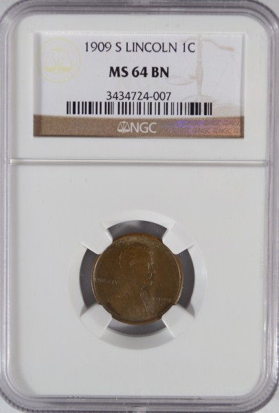 1909 S LINCOLN CENT NGC MS64 BN, BEAUTIFUL!