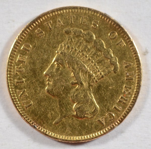 1855 $3 gold XF rim nics from mounting est $600-$650
