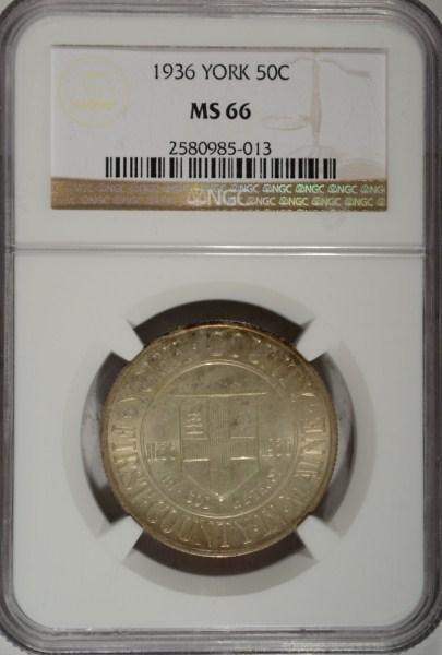 1936 York Commemorative Half Dollar NGC MS-66 Super!