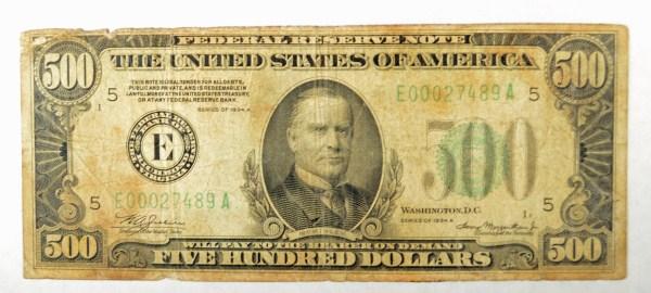 1934a $500 FRnote VG est $675-$700