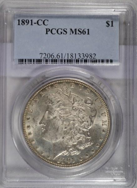 1891CC Morgan $ PCGS61 est $425-$450