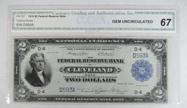 1918 $2 NATIONAL CURRENCY FRB CLEVELAND OH CGA67
