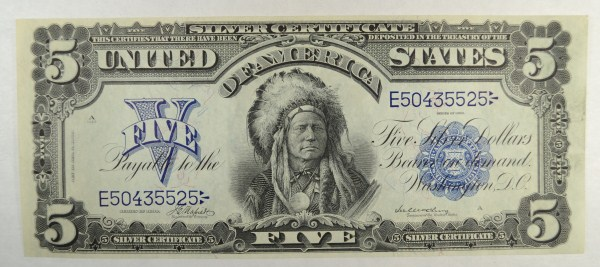 1899 $5 Indian Chief silver certificate AU est $1700-$1800