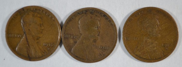 1911-D VG, 12-S VG, 12-D VG LINCOLN CENTS