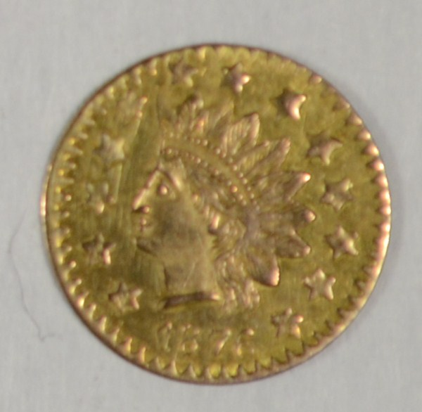 1876 California 1/2 $ GOLD large Indian head with value and CAL in wreath AU/BU