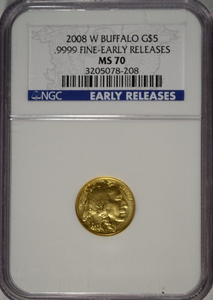 2008-W $5.00 BUFFALO .9999 GOLD, NGC EARLY RELEASE MS 70