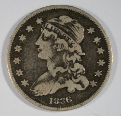 1836 vintage USA COINAGE silver BUST STYLE quarter