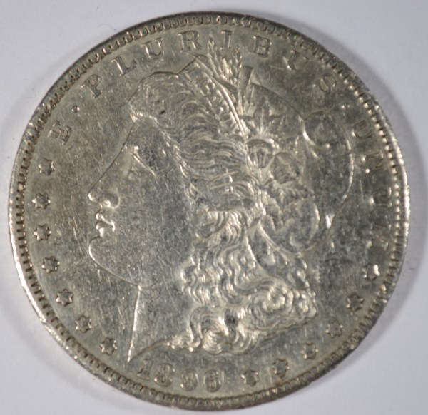 1896-S MORGAN DOLLAR AU PL SURFACES
