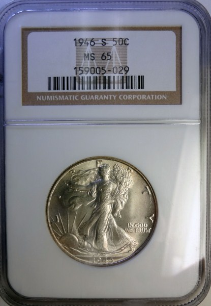 1946-S WALKING LIBERTY HALF DOLLAR NGC MS65 GEM